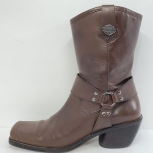 Harley Davidson Womens Leather Embossed Logo Boots